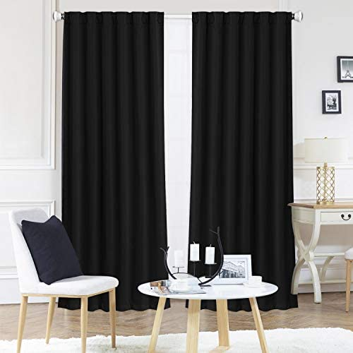 ZHUFUREN Black Blackout Window Curtain Panel Pairs 95 for Bed Room Darkening and Thermal Insulation Soft Silky Window Treatment Drapes Rod Pocket with Backtabs, 2 Tie Backs 2 Pk, 52×95 Inch, Black