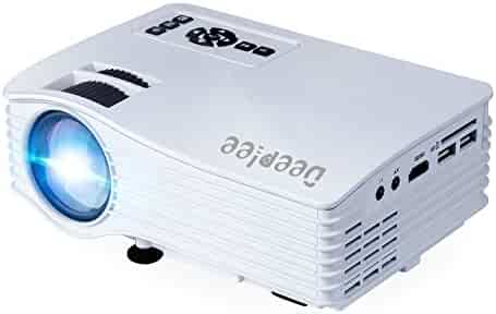 DeepLee DP36W LED LCD Mini Projector, Home Theater Video Projector with AV USB SD HDMI for Home Cinema Video Game Courtyard Movie Night support PC Laptop PS3/PS4 Xbox Wii Projector - White