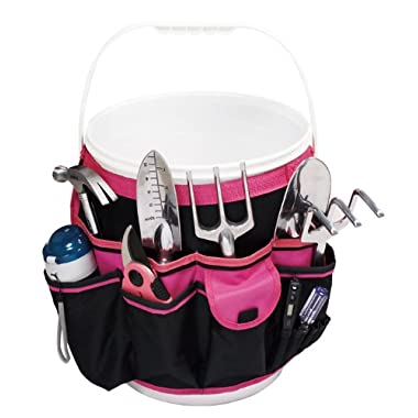 Apollo Precision Tools DT0825P 5-Gallon Bucket Garden Tool Organizer, Black/Pink, Donation Made to Breast Cancer Research