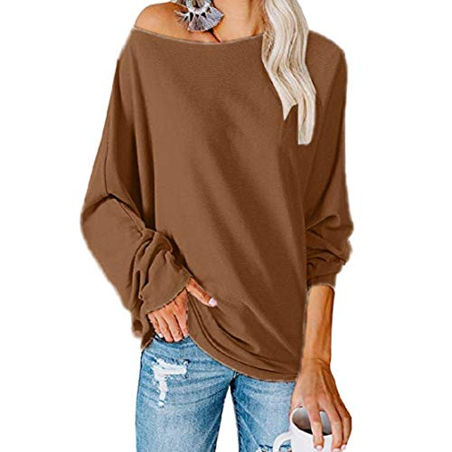 LowProfile Women Fashion Sexy Loose One Shoulder Pullover Long Batwing Sleeve Plain Shirt Pullover Blouse Top Brown
