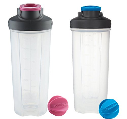 Contigo Shake & Go Fit Mixer Bottles, Pink & Blue - 28oz (2 Pack)
