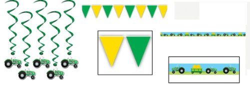 Green TRACTOR Boy's BIRTHDAY PARTY DECORATIONS/Decor/Dangling Whirls/Pennant Banner/STREAMERS/FARM/Farmer/JOHN DEERE/TRACTOR PULL