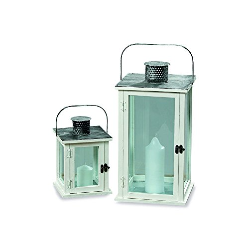 WHW Whole House Worlds Romantic Hamptons Candle Lanterns, Set of 2, Galvanized Metal, Rustic White Washed Roof, Wood, Distressed Shabby Finish, Vintage Style, 17 3/4 and 9 3/4 Inches Tall