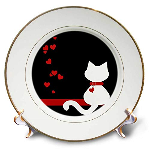 3dRose cp_164792_1 Pet Lovers Red Hearts White Kitty Cat-Porcelain Plate, 8-Inch