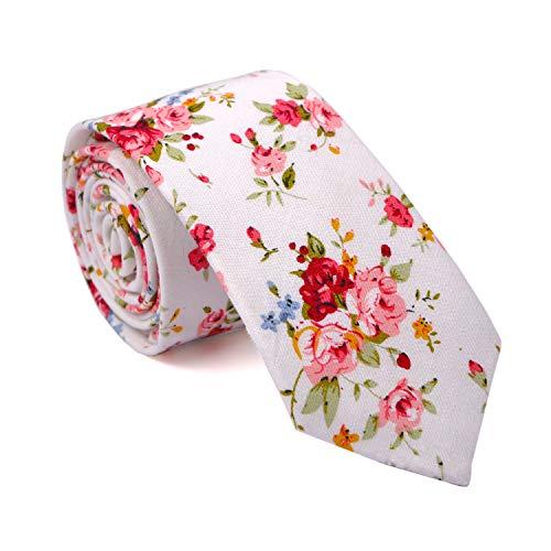 LUISDAN Men's Skinny Floral Tie Cotton Flower Printed 2.56'' Wedding Dating Summer Necktie ()
