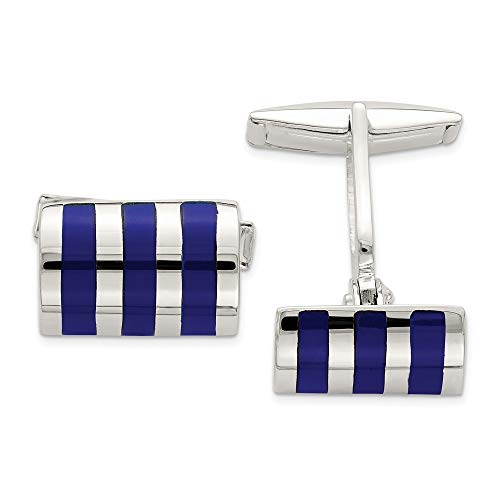 925 Sterling Silver Lapis Cuff Links Mens Cufflinks Link Man Fine Jewelry Gift For Dad Mens For Him ()