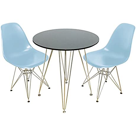 Mod Made Mid Century Modern 3 Piece Paris Tower Dining Set Bistro Set Black Table Blue Chairs