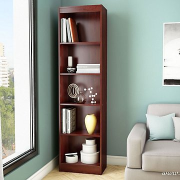 Axess Five Shelf Narrow Bookcase - 71''H (Royal Cherry Finish) by OFF!