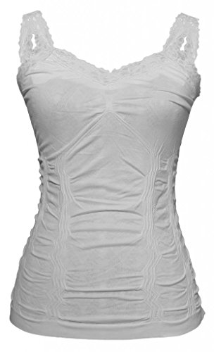- Womens Lace Trim Camisoles - White