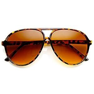 Retro 80s Vintage Blue Blocking Aviator Sunglasses (Tortoise)