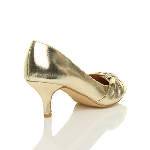 Ajvani - Zapatos de vestir para mujer dorado metálico