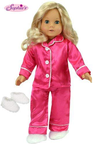 (Sophia's 18 Inch Doll Clothes Outfit, Hot Pink Satin Doll Pj's with White Slippers, Doll Pajamas Set Fits American Girl Dolls, Doll Clothing for 18 inch dolls)
