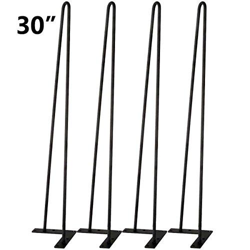 Tengchang Solid Iron Metal Bar Baking Finish Hairpin Legs Table Desk Bench Hairpin Table Legs Black (30 Inches)