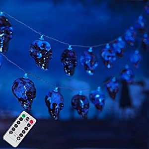 30 LED Halloween Skull String Lights, 8 Modes Fairy Lights with Remote, 16.4ft Waterproof Battery Operated Halloween…