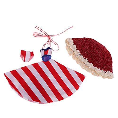 Prettyia 1/6 Stylish Striped Beach Dress & Raffia Hat for Blythe Dolls Costume Best Gift