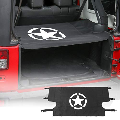 (Hooke Road Jeep Wrangler Rear Trunk Cargo Storage Extension Cover Shield for 2007-2018 Jeep Wrangler JK Unlimited (4-Door Only))