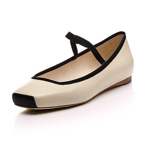 T.T-Q Zapatos de Baile de Mujer Zapatos de Ballet de Cuero Tacón Plano ProfesionalNegro Negro