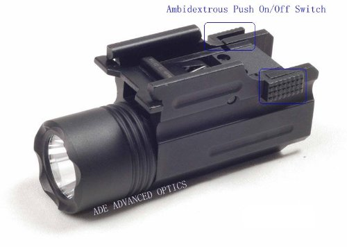Ade Advanced Optics 200 Lumen CREE C4 LED Flashlight for Compact Pistols Fits Beretta Px4 M9a1 Glock 19 23 25 Sr9 Xd Compact Taurus 24/7 SIG P250 S&w Sw99