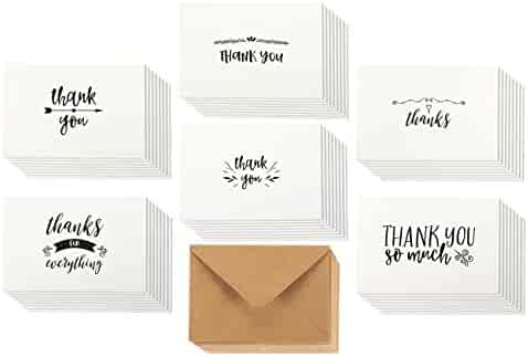 48 Assorted Pack Thank You Note Cards Bulk Box Set - Blank on the Inside - 6 Vintage Handwritten Thank You Designs - Includes 48 Greeting Cards and Brown Kraft Paper Envelopes - 4 x 6 Inches