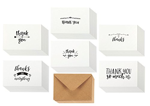 48 Assorted Pack Thank You Note Cards Bulk Box Set - Blank on the Inside - 6 Vintage Handwritten Thank You Designs - Includes 48 Greeting Cards and Brown Kraft Paper Envelopes - 4 x 6 Inches (Thank Stationery You)