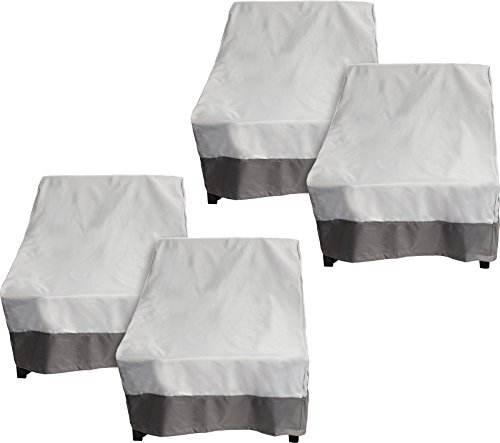 4 Pack Deep Chair Patio Cover - Outdoor Furniture Set Cover (Grey w/ Dark Grey Trim) (Cover Deck Furniture)