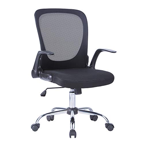 LIANFENG Mid Back Mesh Task Chair, Ergonomic Swivel Computer Desk Office Chair with Flip Up Arms, Siutable for Office and Home, Black