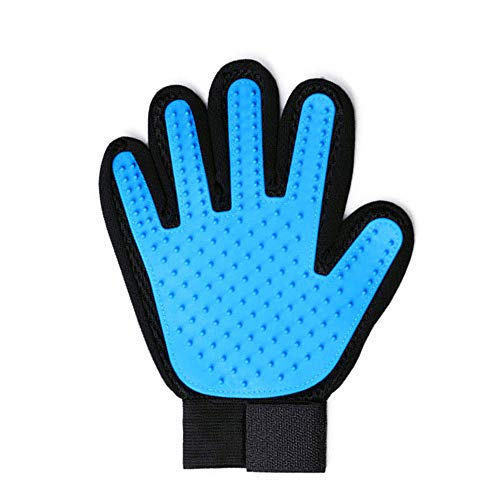 SINONDE Pet Grooming Glove Pet Hair Remover Mitt Deshedding Brush Glove Gentle Pet Massage Gloves-Five Finger Special Design for Dog, Cat, Horse, etc (Light Blue-1pc)