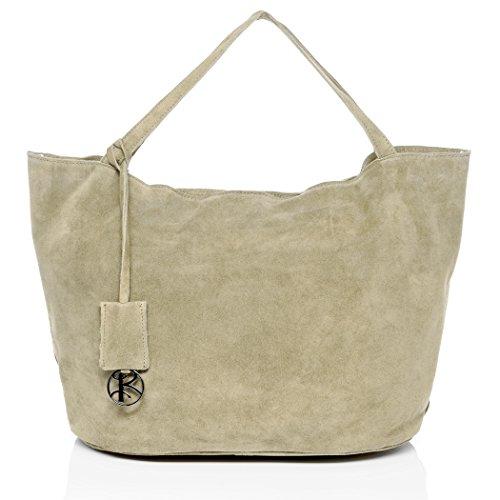 BACCINI borsa a spalla SELMA - sacchetto - Borsa da donna vera pelle (55 x 31 x 23 cm) Beige Chiaro