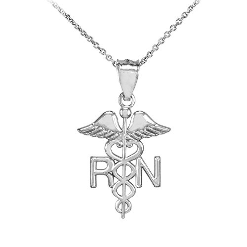 American Heroes 925 Sterling Silver Caduceus RN Charm Registered Nurse Pendant Necklace, 22""