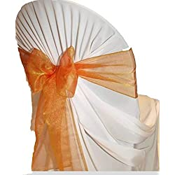 mds Pack of 50 Organza Chair sash Bow Sashes for Wedding and Events Supplies Party Decoration Chair Cover sash -Brunt Orange