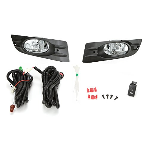 LEDIN For 2006 2007 HONDA Accord Coupe 2DR Clear Lens Fog Light Set w/Bezel Wires Bulb 2dr Clear Fog Lights
