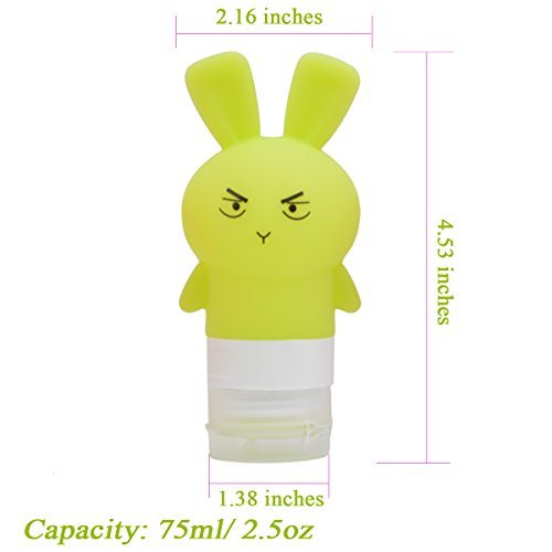 Portable Silicone Travel Bottle Set with Clear Bag, Soft Toiletry Bottles Refillable Squeezable Shampoo Lotion Liquid Container Kit, Cute Rabbit Beach Travel Accessories TSA Approved 2.5OZ-4Pack by ANREONER (Image #5)