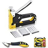 CELYND Staple Gun, 3 in 1 Heavy Duty Staple Gun Kit with Staple Remover  Manual Nail Gun with 2400 Staples for Upholstery, Fixing Material, Decoration,Crafts, Carpentry, Furniture,Wood