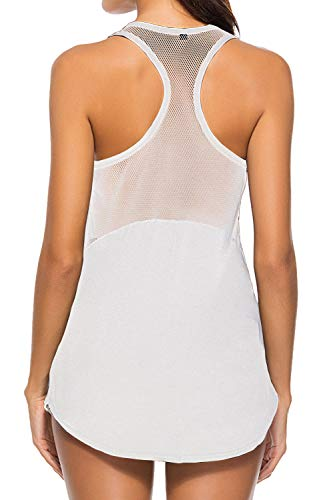 Duppoly Women Athletic Tops Sexy Backless Hiking Shirts Relaxed Fit Basic Tee Sport Exercise Fitness T Shirt Sun Protection Muscle Tops Tunic Shirt Dryfit Camisole Stretchy Racerback Tank Tops White L