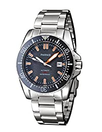 Parnis Watches Black Dial Ceramic Bezel Orange Mark GMT Style Automatic Mechanical P111603 by Parnis