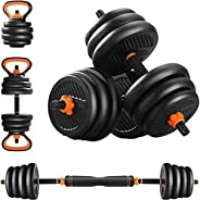 LINKLIFE 44LBS 4 in 1 Adjustable Dumbbell Set - Free Weights Dumbbells Set with Connecting Rod Used as Barbell
