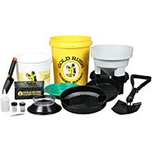 Gold Rush Nugget Bucket Panning and Prospecting Kit with Military Style Metal Folding Shovel (Yellow)