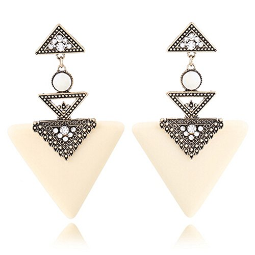 Elakaka Women's European And American Minimalist Models Wild Exaggeration Earrings£¨White£