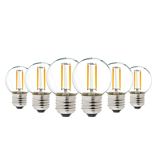 1W LED Bulb Edison G40 LED Filament Mini Globe Light Bulb, Genixgreen Warm White 2700K 8W Replacement Equivalent Vintage Decorative LED Lamp E26 Medium Base Non-Dimmable 6Pack -