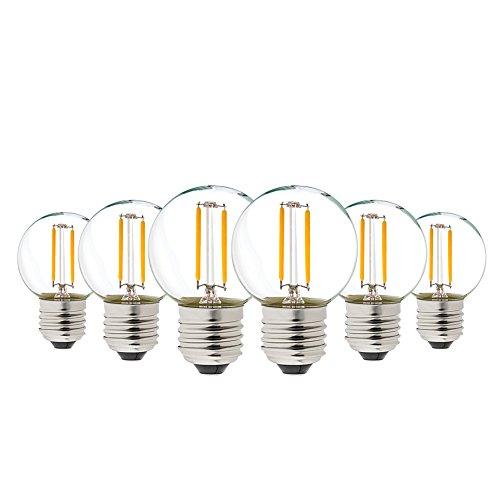 1W LED Bulb Edison G40 LED Filament Mini Globe Light Bulb, Genixgreen Warm White 2700K 8W Replacement Equivalent Vintage Decorative LED Lamp E26 Medium Base Non-Dimmable 6Pack