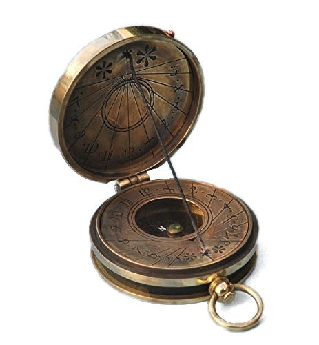 Engraved Antique Patina Pocket Sundial Compass with Cord Gnomon Stanley London