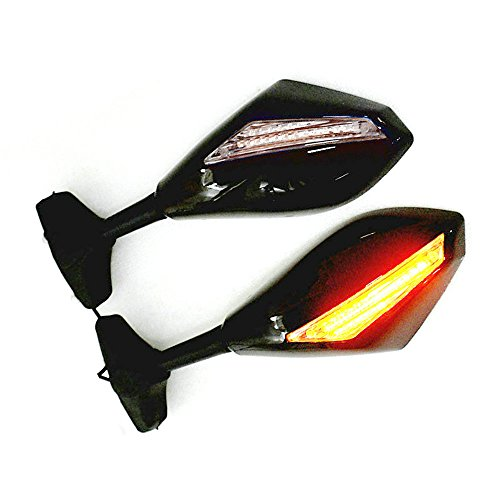 - Yibid Motorcycle LED Turn Signal Mirrors Side Marker Integrated Racing Rearview for Suzuki GSXR 1000 2001-2005, 2009-2012, GSXR 1100 1993-1998, Solid Black Clear Lens