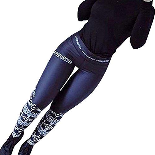 Leggings, Women Sexy Skinny High Waist Yoga Fitness Sports Print Ankle-Length Pants (Dark Blue, S)