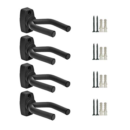 Guitar Wall Mount Hanger 4 Pack Black Guitar Hanger Wall Hook Holder Stand Display with Screws - Easy To Install - Fits All Size Guitars, Bass, Mandolin, Banjo, Ukulele