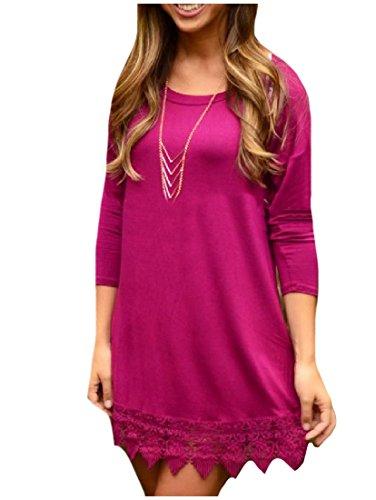 Casual Rossa Coolred Manica Congiungono A Solido Size Rosa Assetto Vestito Plus Lunga donne wrwFx170