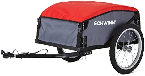 Schwinn Day Tripper Cargo Bike Trailer for Toddlers, Kids, Folding Frame, 16 Inch Tires, Universal Bicycle Coupler, Quick Release Wheels, Red, Yellow