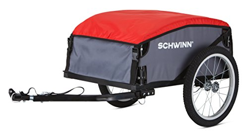 New Schwinn Day Tripper Cargo Bike Trailer, Folding Frame, Quick Release Wheels, Red/Grey