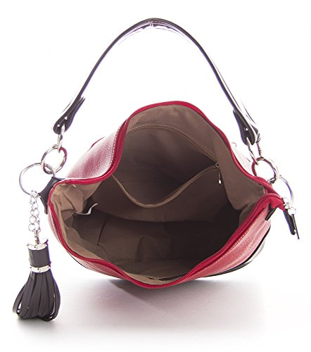 Shoulder Shape Red Faux Top Womens Made Designer Bucket Leather Handle Bag awUwOqx7A