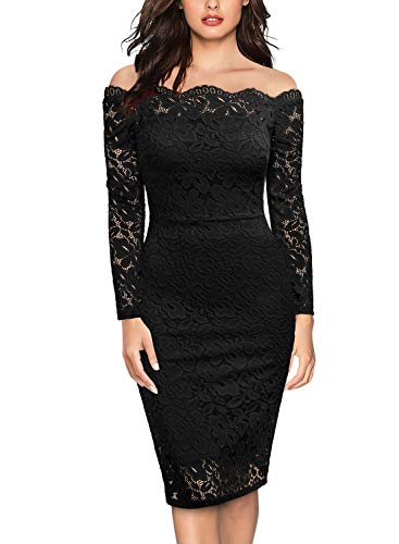 Miusol Womens Vintage Off Shoulder Flare Lace Slim Cocktail Pencil Dress,Large,Black