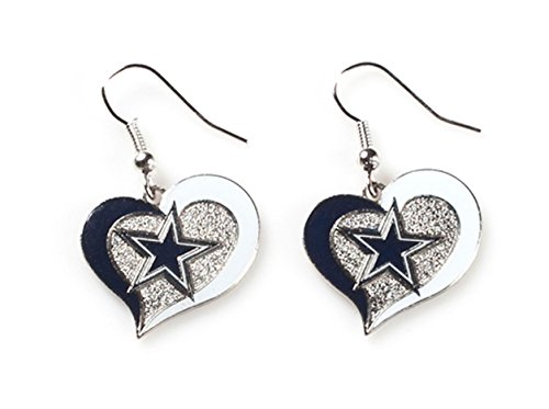 NFL Dallas Cowboys Swirl Heart Earrings